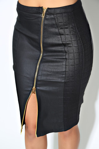 Swank-Blue-Leather-Skirt-OnGiselleAve