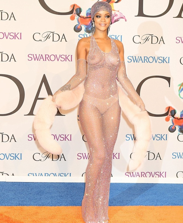 Rihanna-CFDA-Awards-Adam-Selman-Swarovski-Crystals-Gown-Fashion-Moments-2014-OnGiselleAve2