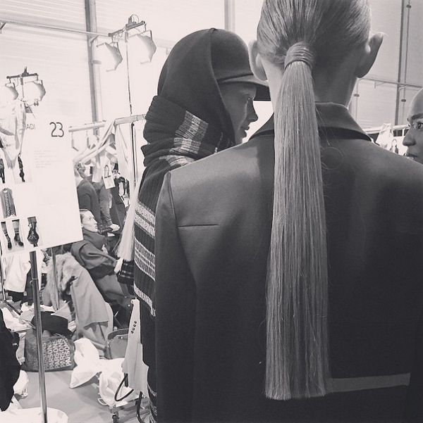 PFW-Kenzo-Fall-2015-Backstage-Anthony-Turner-Slick-Ponytails-Beauty-OnGiselleAve