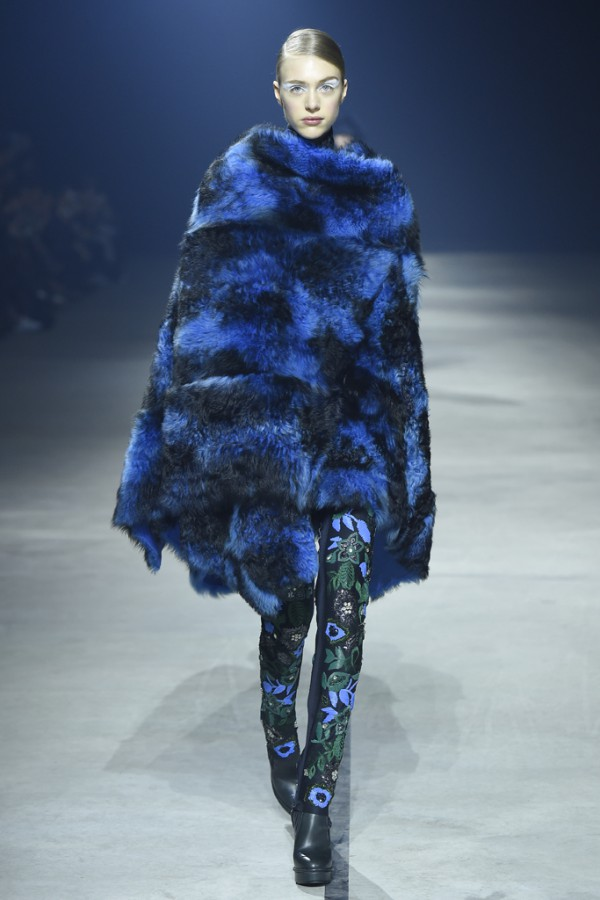 PFW-Kenzo-Fall-2015-Shearling-Fur-Cape-Embroidered-Floral-Trousers-Fashion-OnGiselleAve