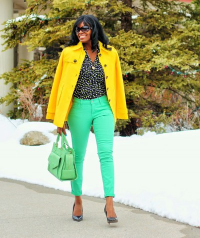 The-Fashion-Stir-Fry-Easter-Sunday-Yellow-Coat-Mint-Jeans-Polka-Dot-Top-Fashion-OnGiselleAve