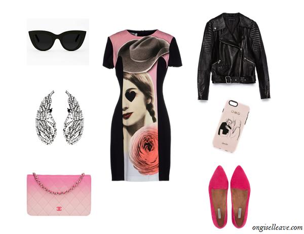 Leather-Moto-Jacket-Graphic-Shift-Dress-Ballet-Flats-Fashion-OnGiselleAve