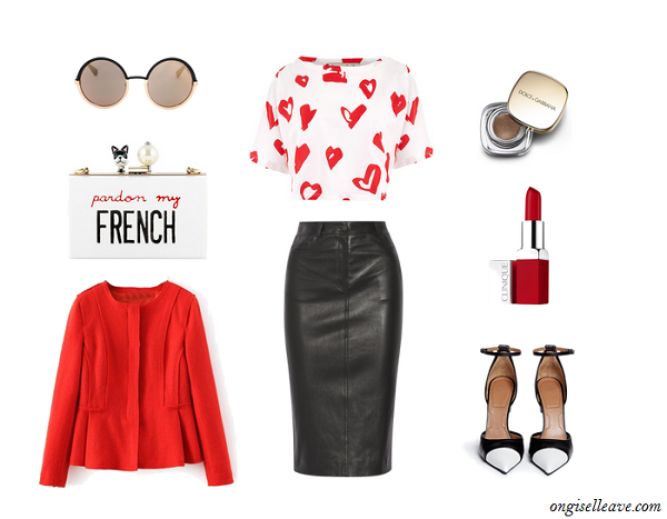 Leather-Skirt-Graphic-Kiss-Print-Top-Red-Wool-Blazer-Statement-Clutch-Fashion-OnGiselleAve