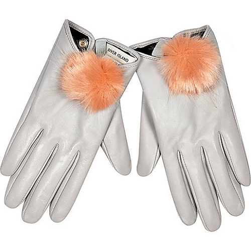 River-Island-Grey-Leather-Pom-Pom-Gloves-Fall-Fashion-OnGiselleAve