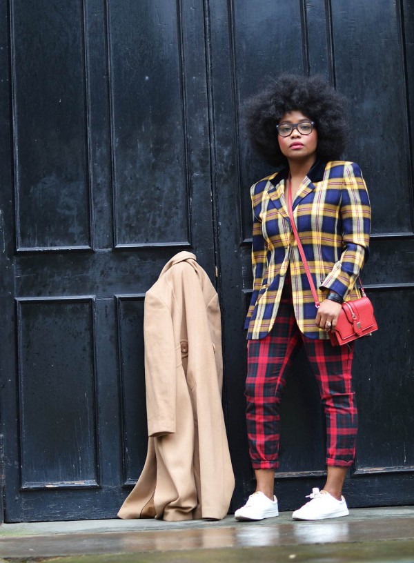 No-Ordinary-She-Mixed-Plaid-Prints-Camel-Coat-Sneakers-OnGiselleAve