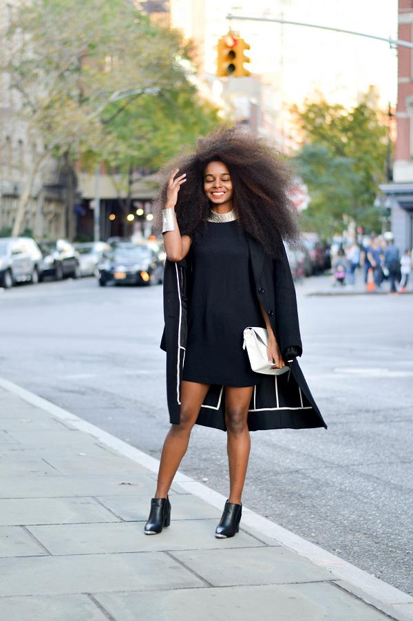 Sunita-V-Black-A-Line-Dress-Black-Coat-White-Clutch-OnGiselleAve