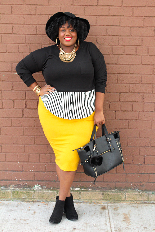 Black-Crop-Top-Striped-Button-Down-Pencil-Skirt-Layers-Fashion-OnGiselleAve