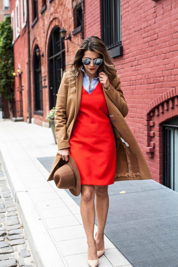 Corporate-Catwalk-Camel-Coat-Red-A-Line-Dress-Fashion-OnGiselleAve