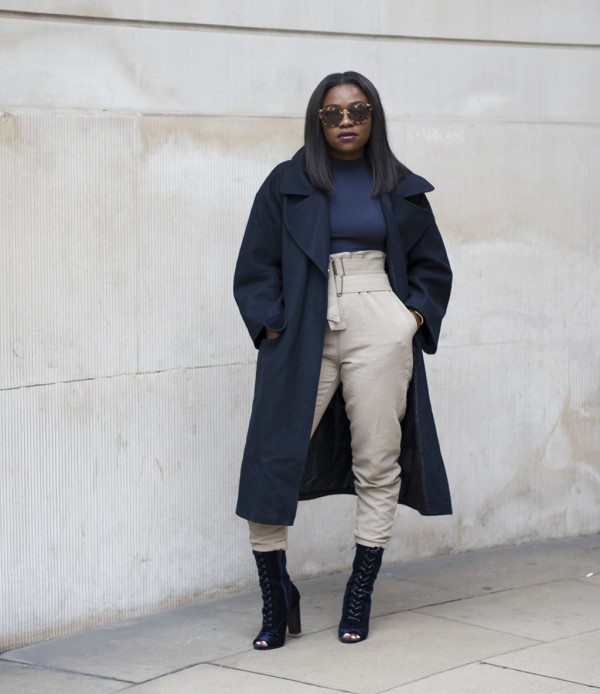 Navy-Blue-Overcoat-High-Waisted-Trousers-Lace-Up-Boots-Layers-Fashion-OnGiselleAve