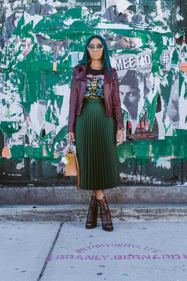 Oxblood-Leather-Jacket-Green-Pleated-Skirt-Graphic-Tee-Layers-Fashion-OnGiselleAve