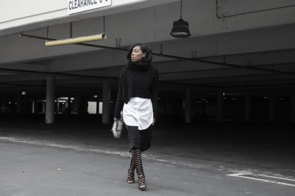 Turtleneck-Crop-Sweater-Oversize-Button-Down-Black Culotte-Shorts-Layers-Fashion-OnGiselleAve