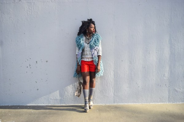 BeFittingStyle-Red-Shorts-Fur-Vest-Fashion-OnGiselleAve
