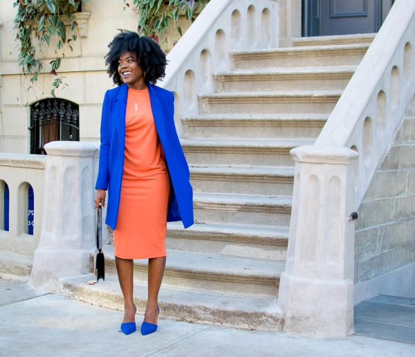 Simply-Cyn-Cobalt-Blue-Coat-Tangerine-Pencil-Dress-Spring-Fashion-OnGiselleAve
