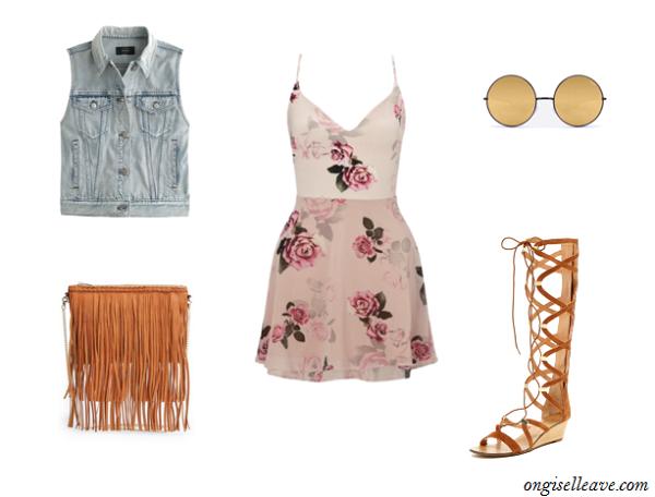 Floral-Dress-Denim-Vest-Gladiator-Sandals-Coachella-Fashion-OnGiselleAve