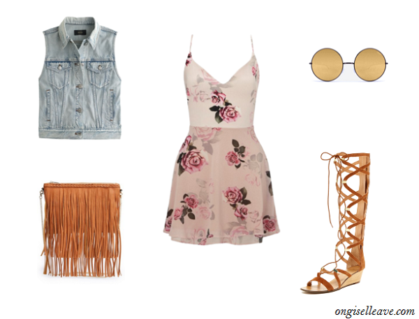 Floral-Dress-Denim-Vest-Gladiator-Sandals-Coachella-Fashion-OnGiselleAve
