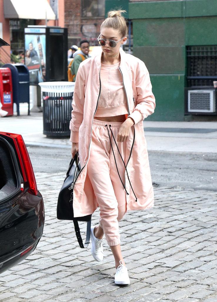 Gigi-Hadid-Layered-Pink-Tracksuit-Fashion-OnGiselleAve