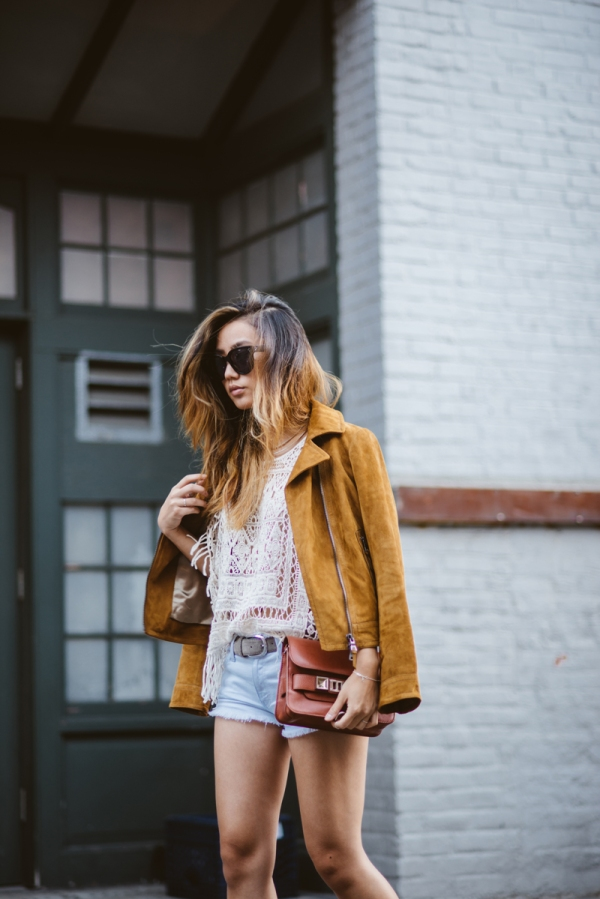 Jenny-Ong-Neon-Blush-Suede-Jacket-Denim-Cut-Off-Shorts-Fashion-OnGiselleAve