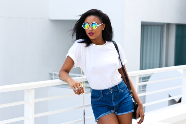 Ria-Michelle-Denim-Shorts-White-Basic-Tee-Neon-Shades-Fashion-OnGiselleAve