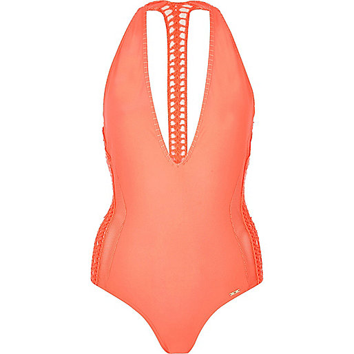 River-Island-Coral-Crochet-Halter-Neck-Swimsuit-Fashion-OnGiselleAve