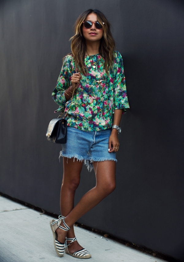 Sincerely-Jules-Floral-Shirt-Denim-Shorts-Striped-Flats-Fashion-OnGiselleAve