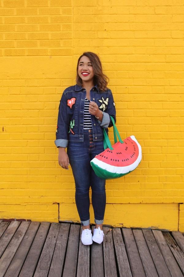 Color-Me-Courtney-Denim-Ensemble-Watermelon-Purse-Summer-Fashion