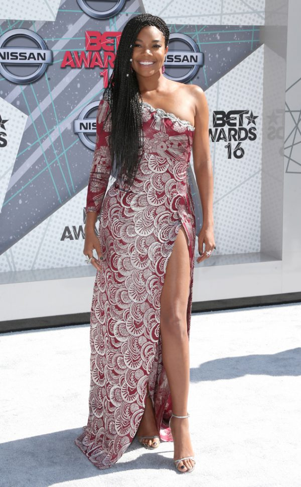 Gabrielle-Union-Patterned-Burgundy-Dress-BET-Awards-Fashion-OnGiselleAve